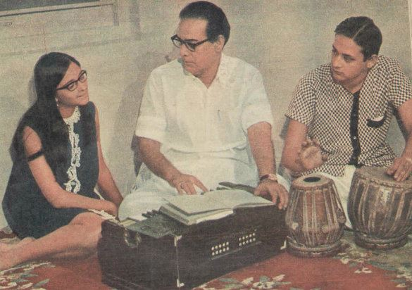 HEMANT KUMAR with his daughter RANU MUKHERJEE and son JAYANT